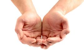 Giving, generosity, open hands.